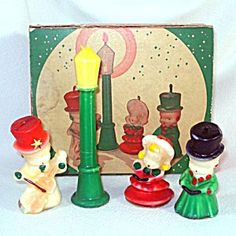 Tavern The Carollers Christmas Figural Candle Set In Original Box. Click on the image for more information.