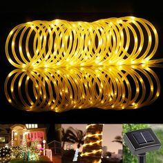 33ft Solar Rope Lights, Waterproof, 100 LEDs, 1.2 V, Warm White, 3000K, Portable, with Light Sensor, Outdoor Rope Lights
