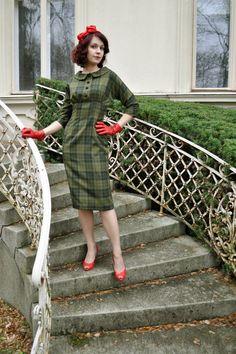 Green plaid dress 50's style wool dress Marcia by CheriseDesign