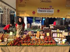 The lovely Dani waiting for our first customer at Abergavenny Food Festival 2015 #happy #smiley #people #welcome #tomato #foodfestival #display #market #fresh #colourful #tomatostall #isleofwighttomatoes