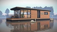 Duurzame houseboats   TMBoats   Nederland Ceiling Painting, Painting Lamps, Wooden Windows, Large Windows, Hillsboro Beach, Electric Underfloor Heating, Steel Railing, Roof Covering, Terrace Design
