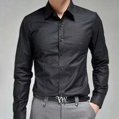 Black dress shirt gray pants