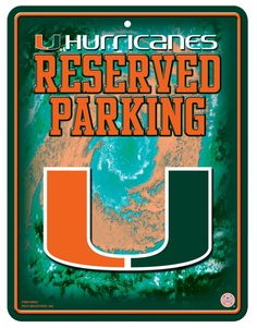 Miami Hurricanes Metal Parking Sign