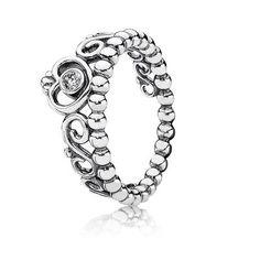 Pandora - My Princess Stackable Ring, Clear CZ.