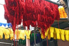 Dyed yarn hanging at the Dyer's Souk - Marrakech, Morocco | Flickr - Photo Sharing!