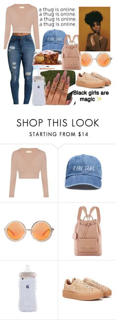 """Melanin Poppin"" by chardonnae ❤ liked on Polyvore featuring Shakuhachi and Puma"
