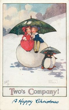 A HAPPY CHRISTMAS (in blue at base)  boy & girl sit on snowball under umbrella, two penguins also have umbrella...Art:Agnes Richardson