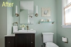 DIY Small Bathroom lake ideas | With that in mind, we swapped out our old pedestal sink for a gorgeous ...