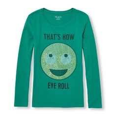Girls Long Sleeve 'That's How Eye Roll' Glitter Emoji Graphic Tee