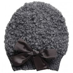 Grevi Girls Grey Mohair & Wool Knitted Hat