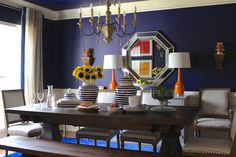 Erika Ward transforms an old playspace into a dazzling dining room makeover with products from Home Depot and Home Decorators Collection. Navy Blue Decor, Peacock Decor, Purifier, Extendable Dining Table, Decorating On A Budget, House Colors, Home Goods, Sweet Home, Interior Design