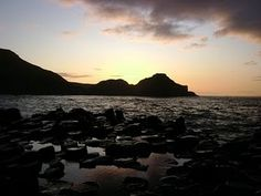 Sunset over Giant's Causeway in Northern Ireland.
