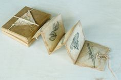 Boxed Drawings by Inga Hunter. A herbal from one of my Imperium peoples. Nepalese paper folded, drawings, paint, bamboo.