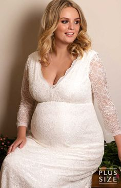 5ad818e9ef6ac Chloe Lace Plus Size Maternity Wedding Gown Ivory - Maternity Wedding  Dresses, Evening Wear and