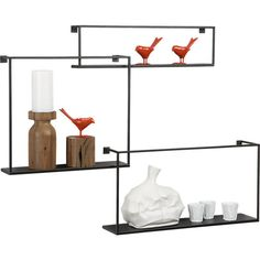 set of 3 floating shelves in wall mounted storage | CB2