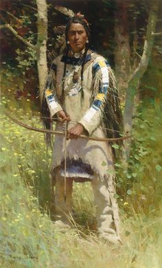 Fine Art oil painting - Piegan Warrior 46 x 28 inches -  by ZS Liang