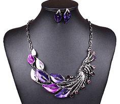 Elegant Women's Purple Peacock Enamel Festoon Bib Necklace Stud Earrings Set