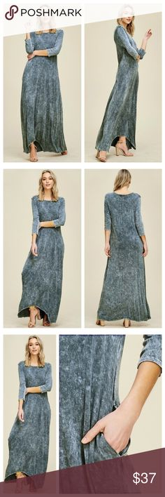 Blue Dye-Wash Maxi With Pockets, Hem Detail Maxi is a soft jersey fabric in shades of denim blue with a dye-washed finish, has 3/4 length sleeves and a slight asymmetrical hem. Soft and comfortable, slips over head. EVIEcarche Dresses Maxi