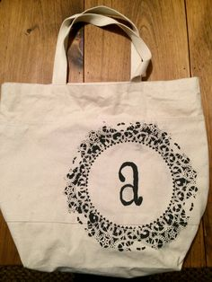 Monogram Lace Design Canvas Tote Bag on Etsy, $18.00