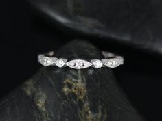 14kt Thin Bead & Eye Vintage Style Half Eternity (Available in other metals and stones)
