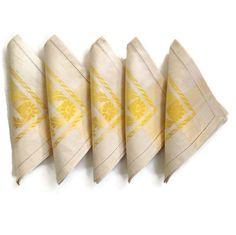 Vintage Linen Brocade Napkins Yellow and White Elegant Napkins Drawnwork Edges Set of 5 by MerrilyVerilyVintage on Etsy https://www.etsy.com/listing/230394860/vintage-linen-brocade-napkins-yellow-and