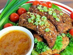 Cajun Chicken Tenders by WickedGoodKitchen.com ~ Crispy, tender and juicy chicken tenders spiced just right served with our Sweet Heat Dipping Sauce. Perfect for game day! #football #game_day #superbowl #party #recipe