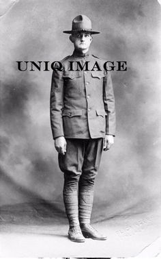"Authentic Antique Real Private Photo 3.5x5.5"" American Soldier WW1 in Uniform"