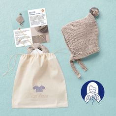 Knit kit baby bonnet BILLIE, organic cotton, hand made in Austria, VAN BEREN Baby Kit, Knitting Kits, Precious Moments, Drawstring Backpack, Organic Cotton, Van, In This Moment, Austria, Projects