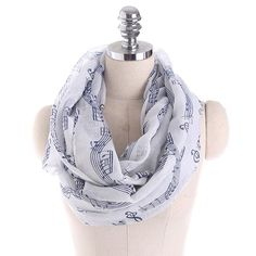 Cheap Fashion online retailer providing customers trendy and stylish clothing including different categories such as dresses, tops, swimwear. Chiffon Scarf, Print Chiffon, Blue And White Scarves, Loop Scarf, Warm Autumn, Neckerchiefs, Music Notes, Womens Scarves, Clothing Patterns