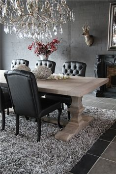 Dining Room -- Table, chairs, chandelier, rug, love it all!