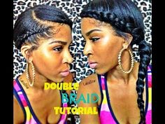 Double Side Braid Tutorial w Clip ins:) Very cute style created using clip in extensions. Really blends into your own hair well for a natural look. I'll have to work on the swoop braid on the front part but I will definitely give this a try. Two Goddess Braids, Goddess Braid Ponytail, Braided Ponytail, Marley Twists, Love Hair, Gorgeous Hair, Beautiful Braids, Side Braid Tutorial, Locks