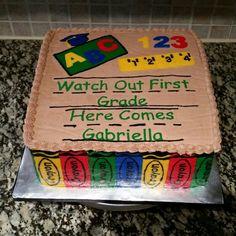 Pre K Graduation, Kindergarten Graduation, Graduation Cake, Graduation Invitations, Graduation Ideas, Kindergarten Pictures, Kindergarten Party, Crayon Cake, Teacher Cakes