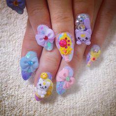 Nails Kawaii Kawaii Nail Art, 3d Nail Art, 3d Nails, Cute Acrylic Nails, Cute Nails, Anime Nails, Dream Nails, Creative Nails, Nail Tech