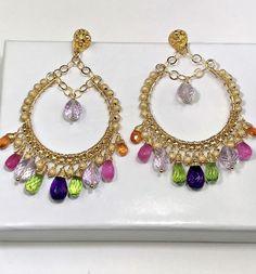 Pink Sapphire Mandarin Garnet Hoop Earrings by doolittlejewelry Beaded Tassel Earrings, Diamond Hoop Earrings, Sapphire Earrings, Crystal Earrings, Crystal Jewelry, Earrings Handmade, Women's Earrings, Dainty Earrings, Chandelier Earrings