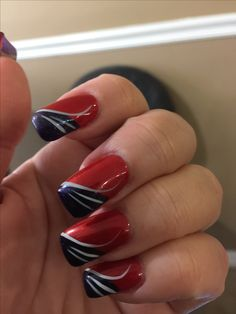 New England Patriots nail art, red white & blue