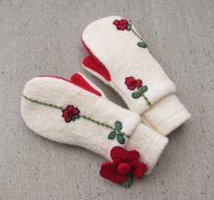 Wool Mittens from Felted Sweaters Fleece Lined by jmariecreates, $34.00