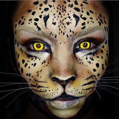 """""""Leopard Wearing my contacts! """" """"Leopard Wearing my contacts! Animal Makeup, Cat Makeup, Makeup Art, Chat Halloween, Halloween Season, Adult Face Painting, Face Paint Makeup, Theatrical Makeup, Makeup Class"""