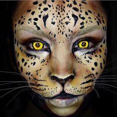 """""""Leopard Wearing my contacts! """" """"Leopard Wearing my contacts! Cheetah Makeup, Animal Makeup, Cat Makeup, Tiger Makeup, Makeup Eyes, Halloween Contacts, Cool Halloween Makeup, Halloween Eyes, Halloween Season"""