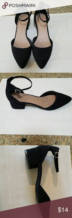 A new day black ankle-strap shoes Closed toe ankle straps and one and a half inch black heels make this the perfect dressy little shoe. Never worn. Black suede. Size 9 medium. A New Day Shoes Heels