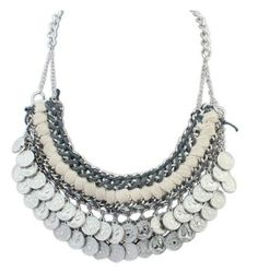 Vntg Weaves Chain Coin Necklace