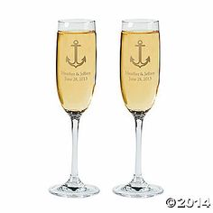 Personalized Nautical champagne flutes