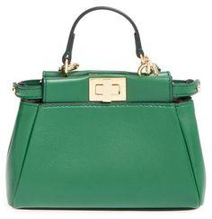 1e1447bcd82f Fendi  Micro Peekaboo  Nappa Leather Bag - Green Sac À Main Vert