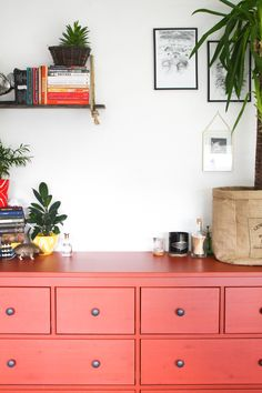 5 ways to refresh your home after winter, workspace 2017, work office, bedroom, home office  Cityscape Bliss // Creative home, blogger home, ikea red cabinet, hanging shelf diy, vintage home decor