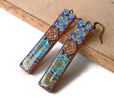 Mexican tiles replica bar earrings long thin earrings by XTory