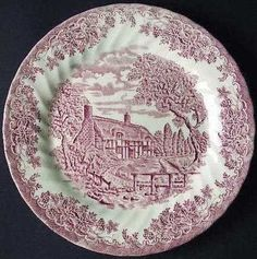 "Churchill Made in England Brook Pattern Pink Dinner Plate by Churchill. $19.99. Microwave and Dishwasher safe. Made in England. Brook pattern. Pink Color. Measures Approximately 10 inches in diameter. This item is a  hard to find dinner plate in ""the Brook - Pink"" pattern made in England by Churchill china. This plate measures 10"" in diameter. It will be a perfect addition or replacement to an existing set."