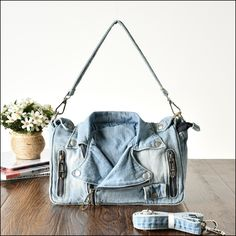 Denim Crafts, Denim Shoulder Bags, Bucket Bag, Store, Jeans, Fashion, Moda, Fashion Styles, Larger