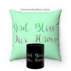 God Bless Our Home SetThis modern set consists of two items.1.God Bless Our Home MugEpic and artistic design that is rich in colors.Black ceramic11 oz (0.33 l)Rounded corners2.God Bless Our HomeFaux Suede Square PillowTop Artistic design with print on the front in light green and print on both sides in black.These highly practical beautiful indoor pillows in various sizes serve as statement pieces, creating a personalized environment.... Gift Sets, Round Corner, Home And Living, Celebrations, Unique Gifts, Blessed, Environment, Indoor, Throw Pillows