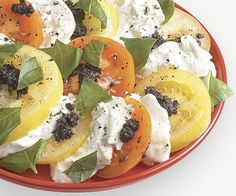 Tomatoes and Burrata with Tapenade _ Burrata (a fresh Italian cheese similar to mozzarella but with a creamy center) is a luscious addition to this updated Caprese Salad. If you can't find it, use fresh mozzarella. Antipasto Salad, Caprese Salad, Salads, Find Recipes By Ingredients, Fine Cooking Recipes, Skinny Recipes, Healthy Recipes, Burrata Recipe, Blueberry Desserts