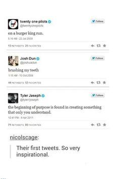 Tyler's first tweet is very inspirational