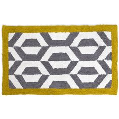 Jonathan Adler Gio Ponti Grey & Yellow Bath Rug (420 BRL) ❤ liked on Polyvore featuring home, bed & bath, bath, bath rugs, grey, grey bathroom rugs, gray bath rug, jonathan adler, gray bath mat and gray bathroom rugs